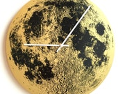 "Gold Full Moon 14"" wall clock round, metallic hand painted screen printed on wood circle handmade built in Portland Oregon Little Lark"
