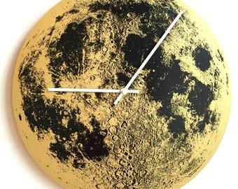 Gold Moon Clock, Wall Clock, Full Moon, Nursery Wall Decor, Moon Art metallic unique wooden wall clock, Modern clock handmade by Little Lark