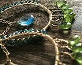 Peridot and Topaz Tourmaline wrapped earrings
