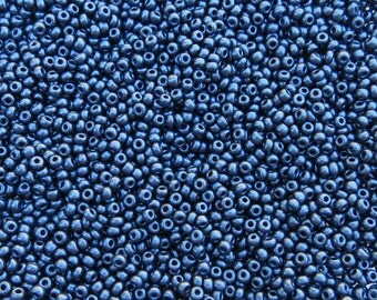6/0 SILKY Opaque Dark Sapphire Czech Glass Seed Beads 20 Grams (CS182)