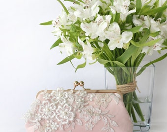 Bridal Clutch with Pearl Sakura Flower Vine Lace in Blush Pink and Rose Gold 8-inches