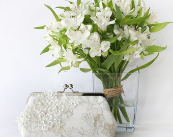 Bridal Clutch with Pearl Sakura Cherry Blossoms Flower Vine Lace in Ivory 8-inches