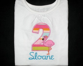 Custom Personalized Applique Birthday Number with FLAMINGO and NAME Shirt or Bodysuit - Pink, Aqua, Lime, Orange, Lt Turquoise