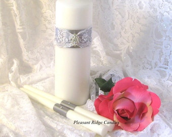 Lace Unity Candle Set Wedding Candle Cheap Unity Candle Bling Unity Candle  Romantic Wedding Ribbon Candle Color Choice Stand Optional