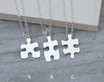 Jigsaw Puzzle Necklace, Friendship Necklace In Sterling Silver, Handmade In England