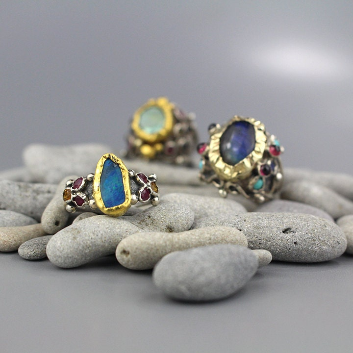 Raw Stone Ring Blue Ring Raw Opal Ring Boho Wedding Ring