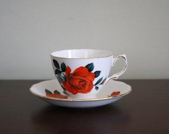Vintage Royal Vale Red Rose Bone China Teacup