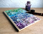 Monthly Planner Recycled A5 Traveler's Notebook, Undated Diary - Upcycled Postage Stamp Art, Green Blue Purple Collage, Boho Hippie Gift