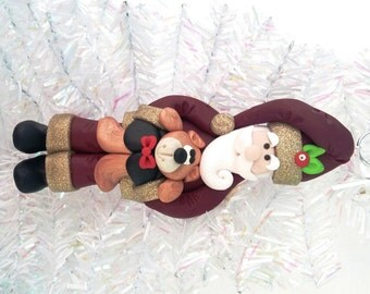 Handmade Christmas Ornament - Woodland Santa with Teddy Bear Christmas Ornament - Christmas Present - Teddy Bear - Country Ornament - 8301