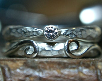 Swirl recycled sterling silver wedding & engagement ring set. Ethical lab grown Moissanite. Hand made in the UK