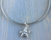 Sterling Silver Squared Bangle with Starfish Charm