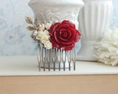 Red Rose Comb, Winter Wedding, Red, Ivory, Pearl Brass Leaf Hair Comb Bridesmaid Gift Red Bridal Rustic, Red Bridal Hair Piece Brass Comb