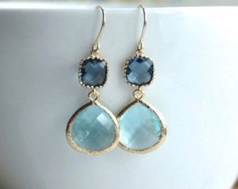 Bridal Blue Wedding Aquamarine Blue Sapphire Blue Dark Blue Dangle Earrings Something Blue Wedding Aqua Blue Wedding Blue Wedding Earrings