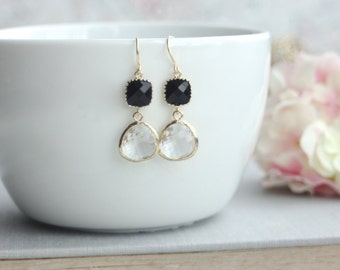 Clear Gold Glass Pear Drop, with Jet Black Glass Drops Dangle Earrings. Modern Everyday. Bridal. Bridesmaids Jewelry Earrings. Blue Wedding