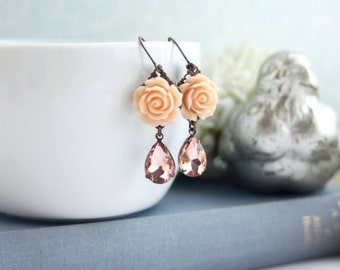 Peach Roses Earrings Champagne Peach Pink Rhinestones Earrings Peach Bridesmaids Gift Peach Wedding Rustic Peach Wedding, Wedding Earrings