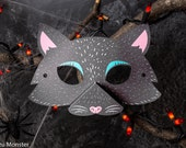 Printable Halloween Cat Mask for kids DIY Halloween activity instant download print at home mask with 3D snout