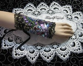 Wrist Cuff, Bracelet, Art to Wear, Victorian, Black, cream, Handmade, Embroidered, Beading, Steampunk, Altered Art, Bohemian, Gypsy, WC-Q144
