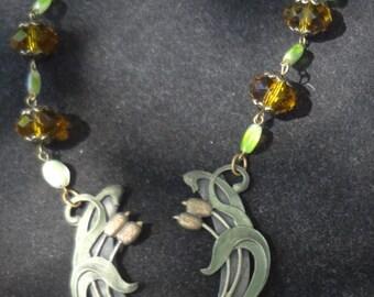 Vintage Art Nouveau Necklace--Lily Pads & Cat tails-OOAK