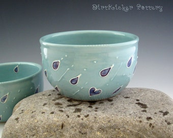 Rainy Day Bowl in Turquoise - Pottery Bowl - by DirtKicker Pottery - Ready to Ship
