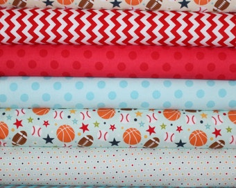 Flannel Boys Blue and Red Sports Fabric Bundle - Playball Main Aqua- Riley Blake Designs- Baseball Basketball Football Fabric- in Half Yards