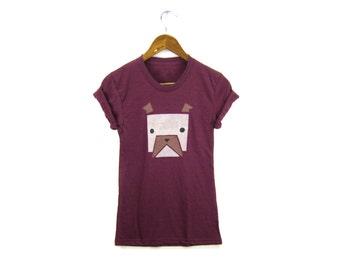 Geo English Bulldog Tee - Boyfriend Fit Crew Neck Tshirt with Rolled Cuffs in Heather Cranberry & Brown - Women's Size S-4XL