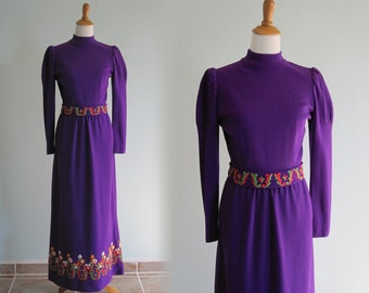 Vintage Purple Embroidered Maxi Dress - Regal 60s Purple Dress with Bright Embroidery - Vintage 1960s Dress M