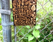 custom home sweet home sign-choose your own favorite street , town, country or place name -ooak flower bird leaf design wood burned poplar