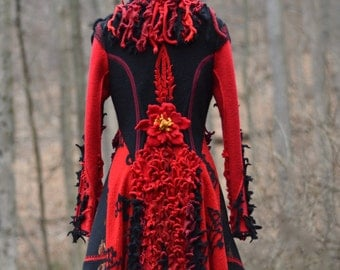 Red black boho eco fashion fantasy SWEATER COAT with felt flowers in size M/L. Ready to ship