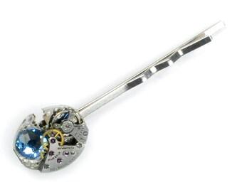Steampunk Vintage Watch & Sapphire bobby Pin