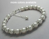 Personalized Bridesmaid Gift, Swarovski White Pearl Bracelet, Bridesmaid Bracelet, Bridesmaid Jewelry, Mother of the Groom Gift