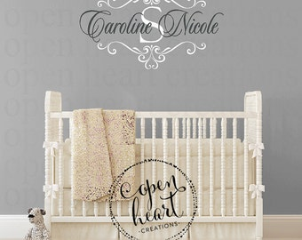 Nursery Name Wall Decal - Girl or Boy Baby Personalized Initial and Name Monogram Vinyl Wall Decal with Shabby Chic Accents FN0622