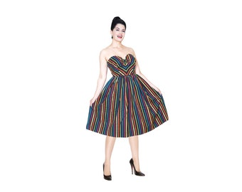 Sabrina dress from The Domestic Dame - 1950s style dress with removable halter strap and full skirt - Limited edition multi-color stripe