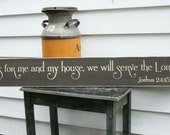SALE - As for Me and My House We Will Serve The Lord Large Wooden Sign - 8x48 Housewarming Carved Engraved Handpainted Wood Sign