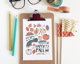 Happy Fall, Seasonal Decor, Illustration, Pumpkins, Scarf, Pumpkin Spice, Apples, Fall Decoration, Art Print, leaves, Apple Cider