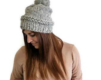 Chunky pom pom hat, Knitted women's hat, Oversized pom pom hat, Neutral winter knits, Chunky knits for winter, Handknit womens beanie