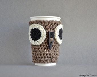 Owl Coffee Mug Cozy, Coffee Cup Sleeve, Crochet Coffee Sleeve, Crochet Coffee Cozy, Coffee Cup Cozy, Crochet Owl, Coffee Cozy, Coffee Sleeve