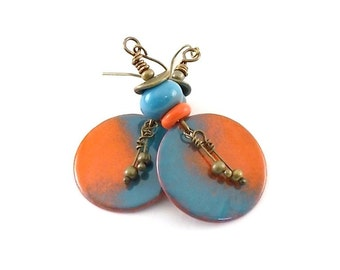 Turquoise and Orange Earrings - Enameled Earrings - Industrial Earrings - Metal Earrings - Boho Earrings - Artisan Earrings - Brass - AE097