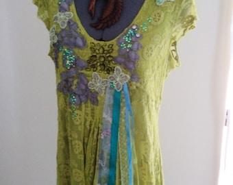 wearable art, fairy dress, fairy costume, art to wear, woodland dress, lime green dress, green lace dress, applique dress