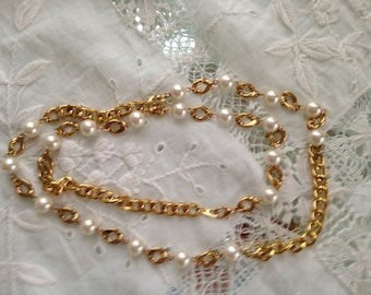 1920s Flapper Pearl and Goldlink Chain Necklace Wedding Orig Design Lovely Unique