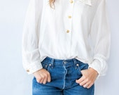 Vintage 80's Oleg Cassini Quilted Beaded Collar Blouse Embellished Top White Shirt