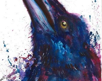 "Original Watercolor ""Crow"" Fine Art Print"