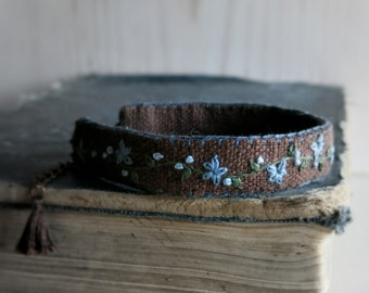 Folk Style Embroidered Cuff Bracelet - Powder Blue Flowers on Dark Brown Linen - Embroidered Jewelry