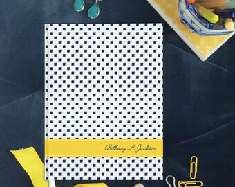 Graduation Gift Personalized Journal, Custom Hardcover Prayer Journal, Hardbound Bible Study Notebook, Navy, White and Yellow Note book