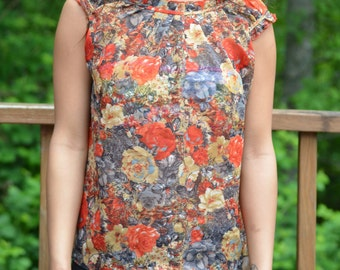 Vintage Sheer Autum Color floral top