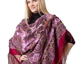 Russian shawl pavlovo posad, boho shawl, wool shawl, Russian scarf, fringe shawl, shawl pashmina, russian clothing, large shawl, women shawl