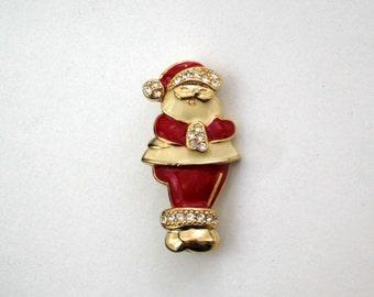 Santa Claus Brooch Pin Vintage Christmas Jewelry Rhinestones Red Enamel