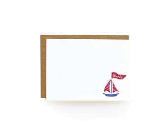 Letterpress Thank You Notes, Sailboat - set of 8