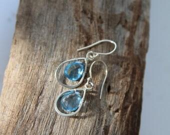 Swiss Blue Topaz Earrings - Drop Dangle earrings - Transparent blue earrings - December birth stone