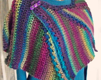 Crochet Stained Glass Mini-Shawl for Women/Teens by AngelAndFairyDesigns on Etsy.com