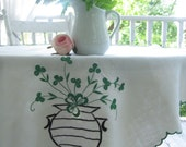 SALE - Small Linen Tablecloth, Irish Linen, Clover, Ireland, Cottage Charm, French Country, by mailordervintage on etsy